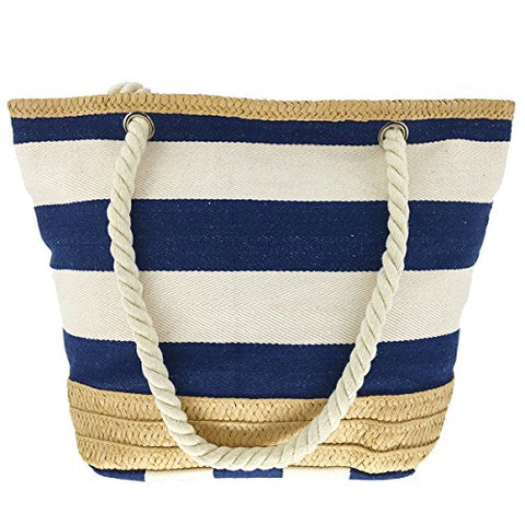 Melime X-Large Travel Shoulder Beach Tote Bag With Handmade Woven Straw Binding, Cotton Rope