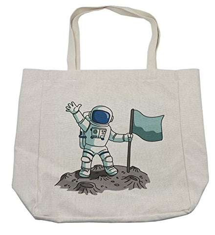 Lunarable Boy's Room Shopping Bag, Victorious Cartoon Astronaut with a Blank Flag on The Moon Waving Gracefully, Eco-Friendly Reusable Bag for Groceries Beach Travel School & More, Cream