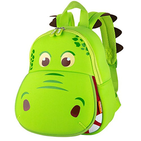 YISIBO Dinosaur Backpack Green Hippo Kids Toddler Child Cute Zoo Waterproof 3D Cartoon Sidesick Bag for Pre School Pre Kindergarten Toddler 2-7 Years