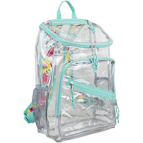 Eastsport Clear Top Loader Backpack, Turquoise/Watercolor Floral