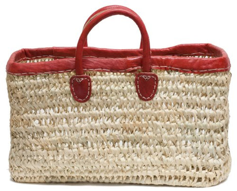 "Moroccan Straw Tote Bag w/ Red Leather Trim, 18""Lx8""Wx10""H - Tripoli Red Lg"