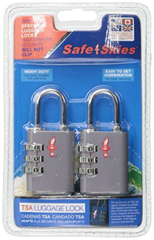 Safe Skies 3 Dial Tsa-Recognized Lock Double Set, Silver, One Size