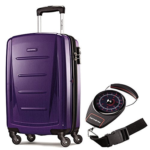 "Samsonite Winfield 2 Fashion HS 20"" Spinner Purple with Portable Luggage Scale"