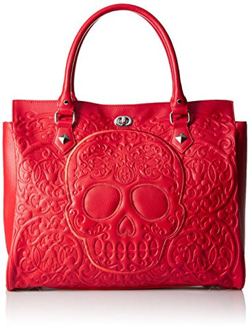 Loungefly Lattice Skull Tote, Red