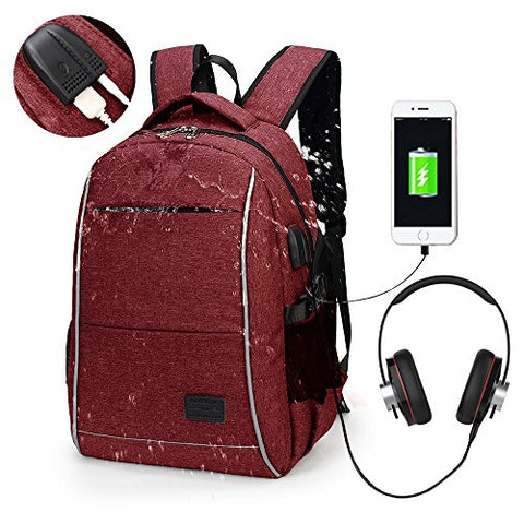Laptop Backpack, WInblo 15.6 Inch College Backpack with USB Charging Port & Headphone Interface
