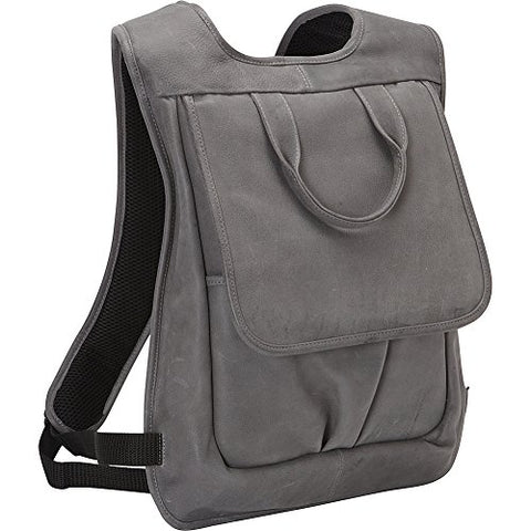Piel Leather Slim Laptop Flap Backpack, Charcoal, One Size