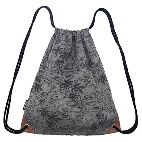 Samgoo Drawstring Bag Canvas Lightweight Coconut Palm Tree Printing Art Gym Sack Sport Bags