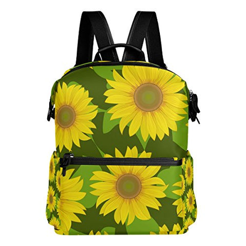 Colourlife Vibrant Sunflowers Stylish Casual Shoulder Backpacks Laptop School Bags Travel