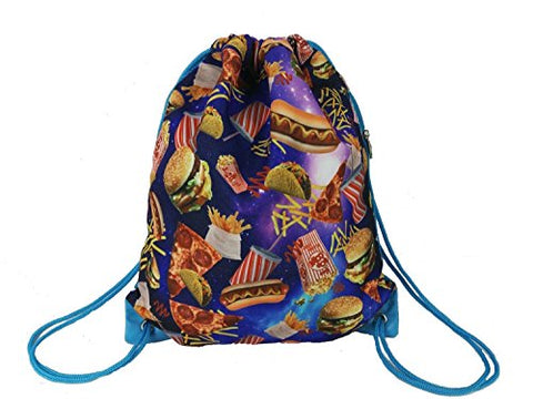 Top Trenz Scented Tasty Print Drawstring Bags (Fast Food, No Scent)