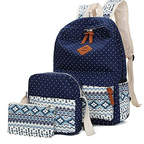 Unicorn School Backpack Bag Waterproof Canvas Shoulder Bag 3pc Set for Girls Boys (Blue)