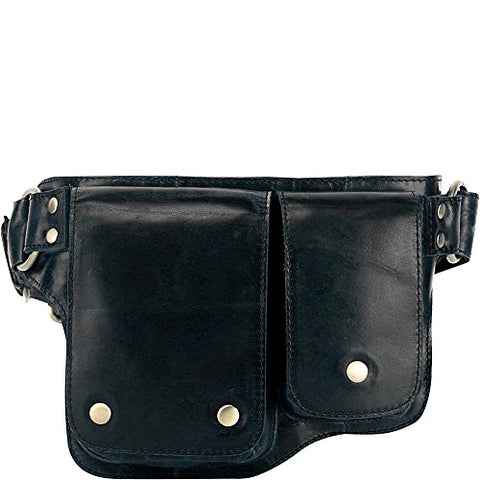 Vicenzo Leather Adonis 2 Leather Waist Pack Hip Purse (Black)
