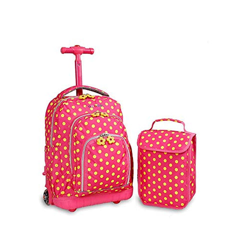 Yexin Rolling Backpacks For Girls School Bags With Wheels Case Lunch Bag School Travel Backpack