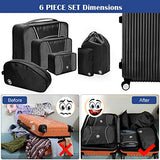 6 Set Packing Cubes, Travel Luggage Packing Organizers with Shoes Bag & Laundry Bag (Black)