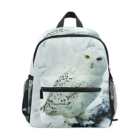 GIOVANIOR Cute White Owl Snow Travel School Backpack for Boys Girls Kids