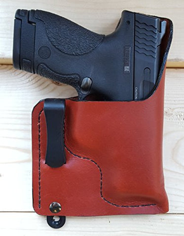 S&W M&P Shield 9mm 40 Soft Leather Concealed Carry Holster IWB Tuckable (Will fit Performance Center Shield) Glock Walther PPK Ruger SP101 LCR LCP LC9 LC9s Springfield XDs XDm SIG