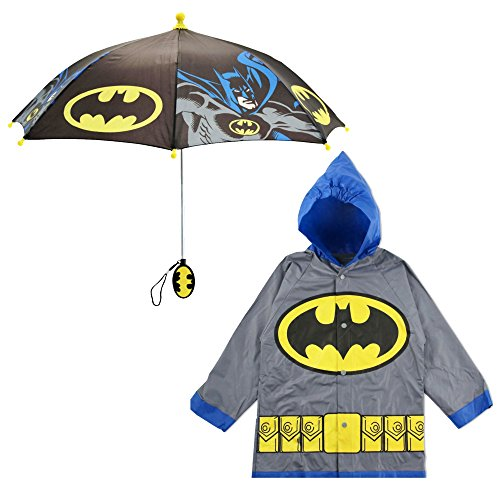 DC Comics Little Boys Batman or Superman Slicker and Umbrella Rainwear Set, Grey Batman, Age 4-5