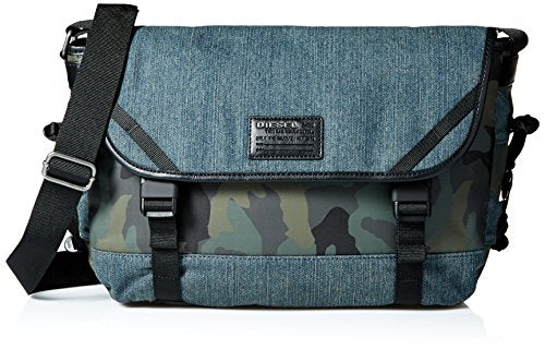 Diesel Men's D-Running Messenger, Blue Denim/Camo