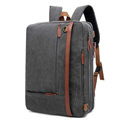 CoolBELL Convertible Backpack Shoulder Bag Messenger Bag Laptop Case Business Briefcase Leisure Handbag Multi-Functional Travel Rucksack Fits 17.3 Inch Laptop for Men/Women (Canvas Dark Grey)