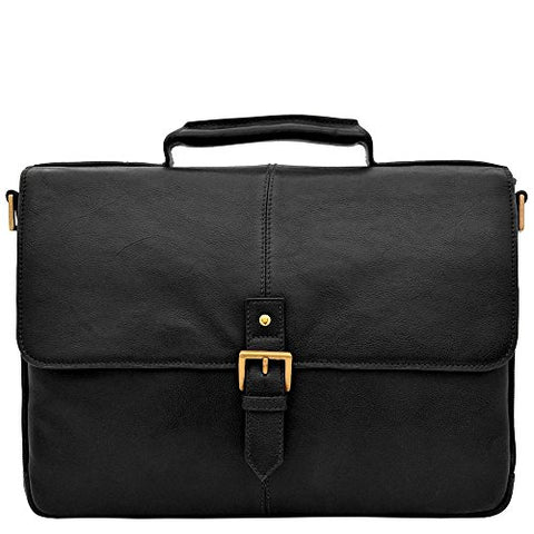 "Hidesign Charles Leather 15"" Laptop Compatible Briefcase Work Bag, Black"
