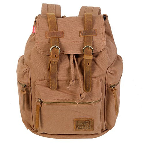 GHP Tan Retro Drawstring Adjustable Shoulder Strap Canvas & Leather Backpack Bag