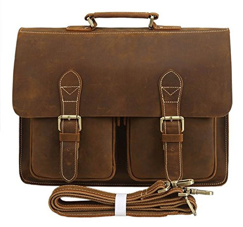 Polare Mens Full Grain Leather 15.6'' Removeable Laptop Compartment Briefcase Messenger Bag Satchel