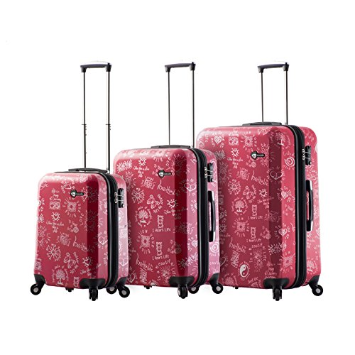 Mia Toro M1089-03Pc-Red Love This Life-Medallions Hardside Spinner Luggage 3Pc Set, Red