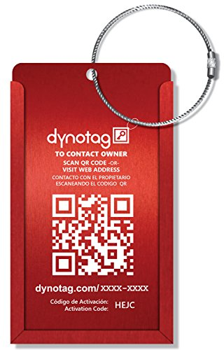 Dynotag Web/Gps Enabled Qr Smart Aluminum Convertible Luggage Tag W. Steel Loop (Ruby Red)