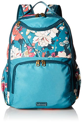 Sakroots New Adventure Madison Backpack , teal flower power , One Size