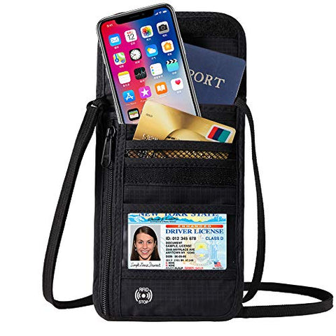DEW Travel Passport Holder Stash Hidden Neck Pouch RFID Blocking Travel Anti-Theft Hidden Wallet