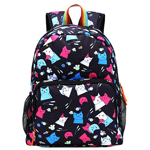 Kemy's Cat Preschool Backpack for Girls Rainbow Kitty Toddler Backpacks for Little Kids Preschooler Kindergarten Back Pack Nursery School Packie Kiddos Water Resistant Small Gift Black Colorful