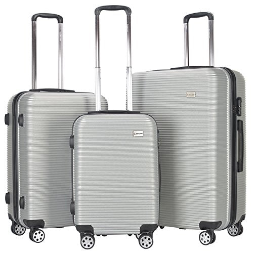 "GHP 3-Pcs 20"" 24"" 28"" SilverABS Polyester Lining Hardshell Travel Suitcase Trolley Set"