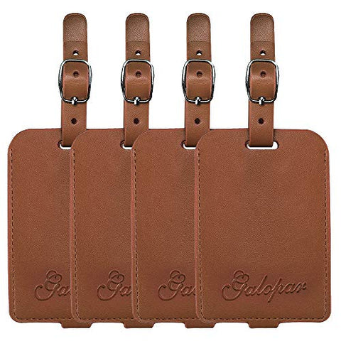 Galopar PU Leather Luggage Tags Handbag Suitcase ID Labels Travel Accessories Tag ID (Khaki 4 Pack)
