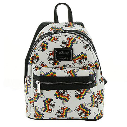 Loungefly Disney's Mickey Mouse Rainbow Mini Backpack, White-rainbow