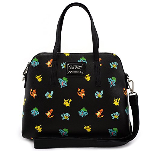 Loungefly Pokemon Starter All Over Print Bag Purse (One Size, Black)