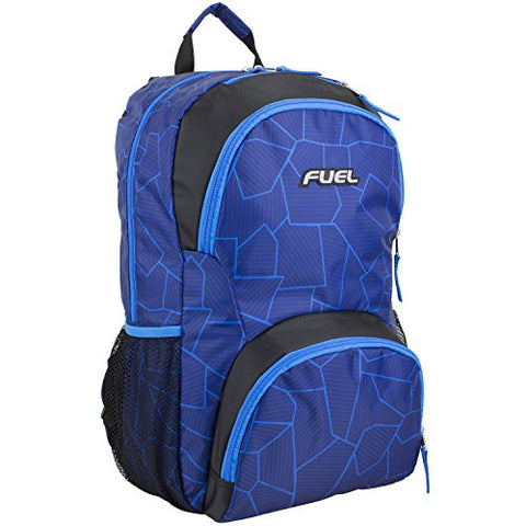 Fuel Valor Everyday Backpack with Interior Tech Sleeve, Black/Royal Blue Geo Print