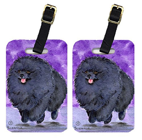 Caroline's Treasures SS8686BT Pair of 2 Pomeranian Luggage Tags, Large, multicolor