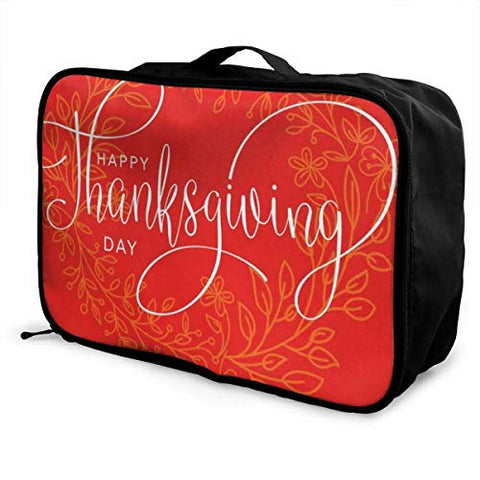 Travel Bags Happy Thanksgiving Day Portable Handbag Trolley Handle Luggage Bag
