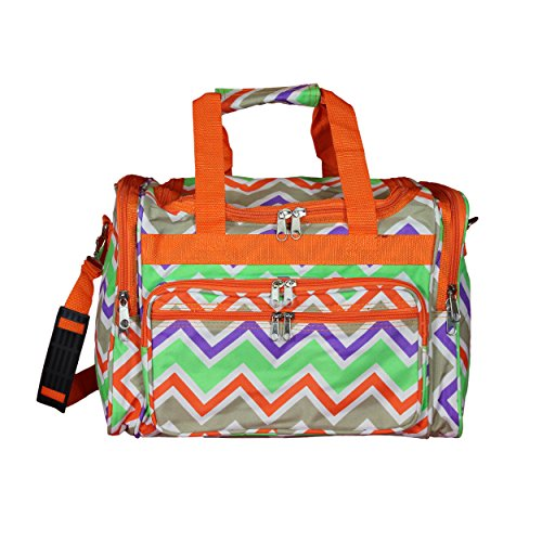 "World Traveler 16"" Duffle Duffel Bag, Orange Trim Chevron Multi, One Size"