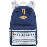 School Backpack for Girls,Hey Yoo Printed Canvas Casual Bookbag Backpack for Girls School (blue)