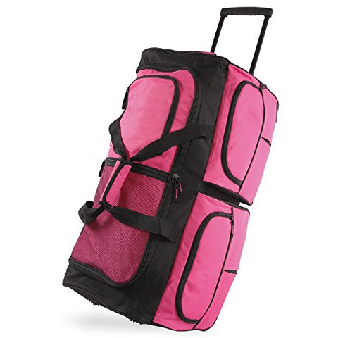 "Pacific Coast Signature 30"" Large Rolling Duffel Bag, Pink"