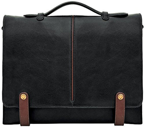 "Hidesign Eton Leather 15"" Laptop Compatible Briefcase Work Bag, Black"