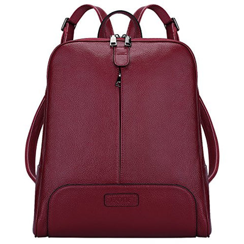 "S-Zone Women'S Genuine Leather Backpack Purse Travel Bag Fit 14"" Laptop (Wine Red)"