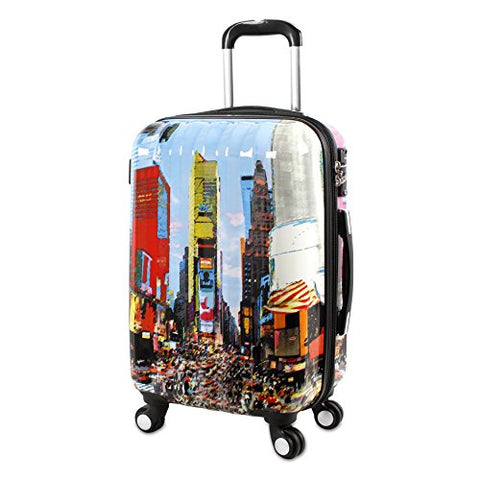 J World New York Art Polycarbonate Carry-On Luggage, Time Square