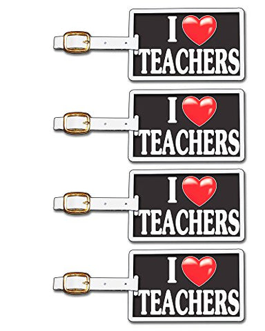 Tag Crazy I Heart Teachers Four Pack, Black/White/Red, One Size