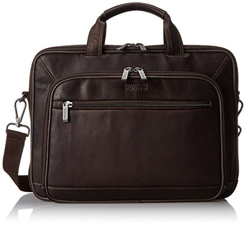 Kenneth Cole Reaction Leather Double Gusset Computer Case, Brown, One Size