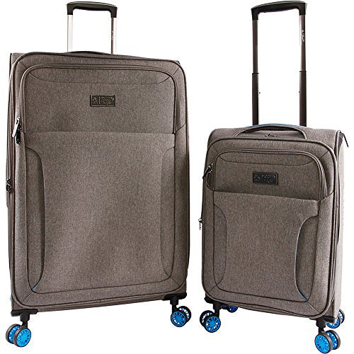 Original Penguin Luggage Platt 2 Piece Set Expandable Suitcase With Spinner Wheels, Grey