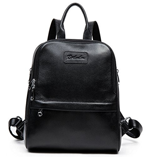 BOSTANTEN Women Leather Backpack Purse Satchel Shoulder School Bags for College Black Small