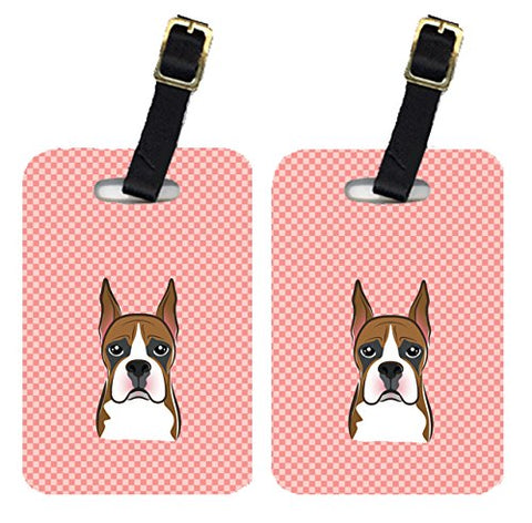 Caroline'S Treasures Bb1223Bt Pair Of Checkerboard Pink Boxer Luggage Tags , Large, Multicolor
