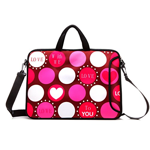 "15.6-Inch Laptop Shoulder Bag Case Sleeve With Handle and extra pocket For 14"" 14.1"" 15"" 15.6 Inch MacBook/Ultrabook/HP/Acer/Asus/ Dell/Lenovo/Thinkpad (Red Heart)"
