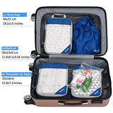 Gonex Compression Packing Cubes Set, Travel Suitcase Luggage Organizer 3pcs+ Shoe Bag+ 4 Zip Bags Deep blue